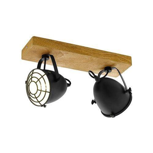 Listwa gatebeck 49077 kinkiet lampa ścienna sufitowa 2x40w e14 czarna/drewno marki Eglo