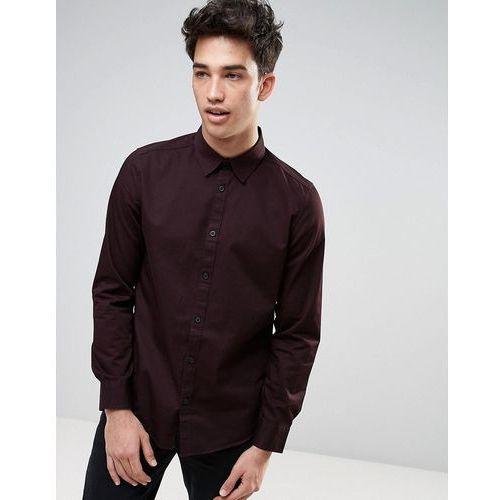 New look  regular fit western shirt in burgundy - red