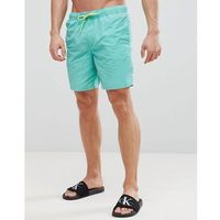 ASOS Swim Shorts In Green Acid Wash With Neon Drawcord In Mid Length - Green, w 3 rozmiarach