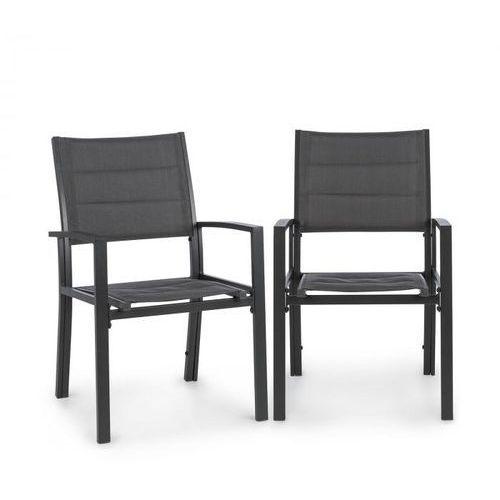 torremolinos fotele ogrodowe 2 sztuki aluminium siateczka comfortmesh ciemnoszary marki Blumfeldt