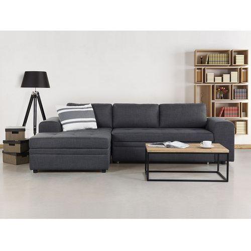 Beliani Sofa ciemnoszara - sofa narożna - sofa rozkładana - sofa tapicerowana - kiruna