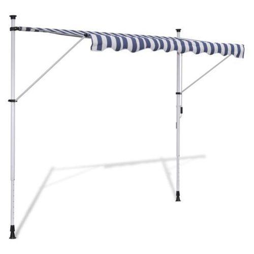 vidaXL Wysuwana markiza 350 cm Obsługiwana ręcznie Niebiesko-biała