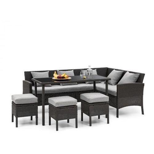 titania dining lounge set komplet mebli ogrodowych, czarny/jasnoszary marki Blumfeldt