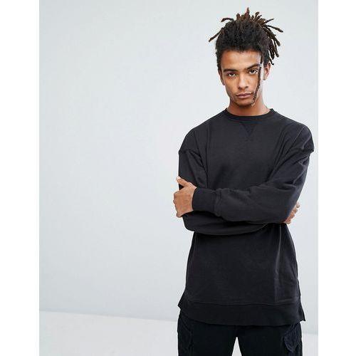 New Look Dropped Shoulder Sweatshirt With Crew Neck In Black - Black, kolor czarny