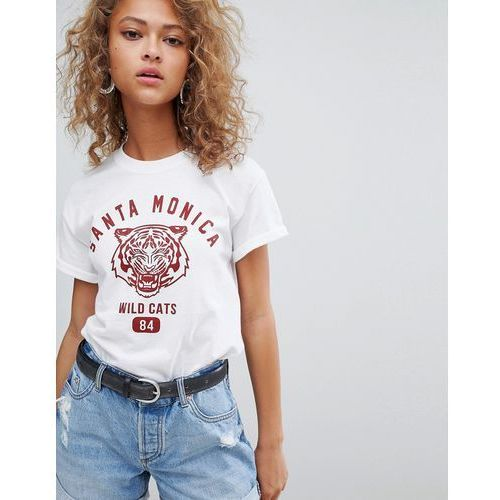 Miss Selfridge t-shirt with santa monica slogan front - White