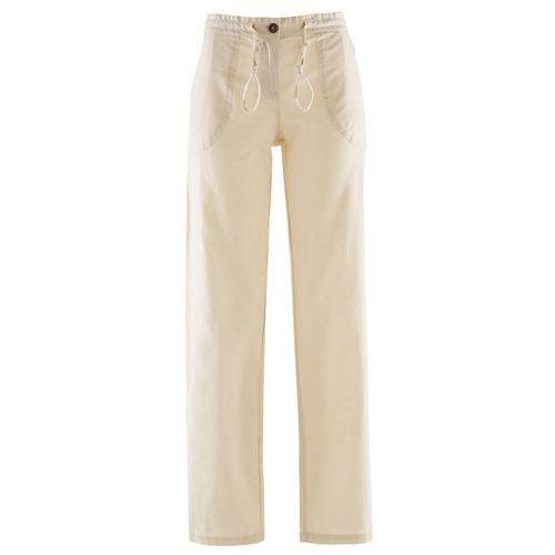 Spodnie lniane bonprix beżowo-szary