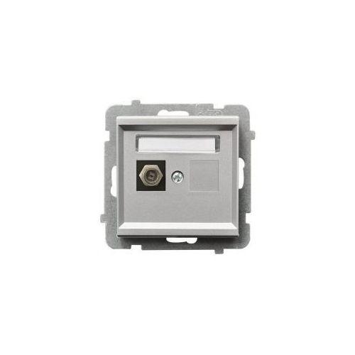 """Gniazdo podtynkowe antenowe typ """"F"""" Ospel Sonata srebro metalik GPA-1R/M/38"""