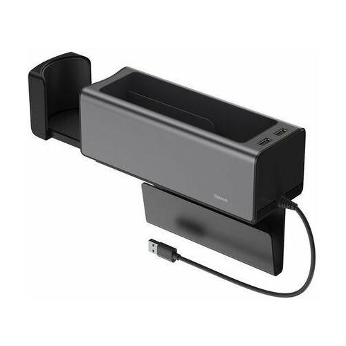 armrest console | uchwyt organizer samochodowy z portami 2x usb - czarny marki Baseus