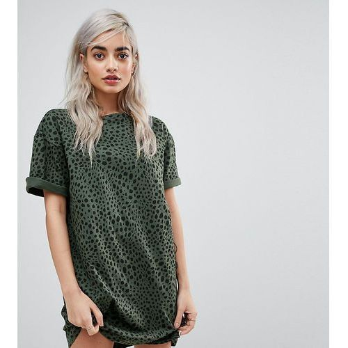 Asos petite ultimate t-shirt dress with rolled sleeves in leopard print - multi