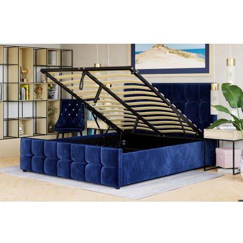 Meblemwm Łóżko z materacem tapicerowane 160x200 sfg015 niebieski welur #82 (9999001203828)