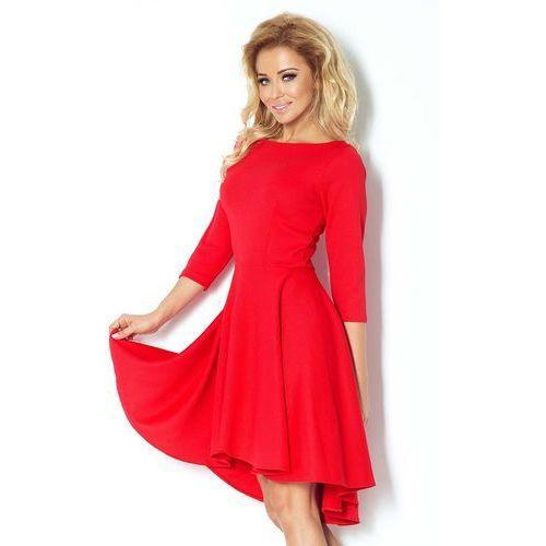 Numoco Czerwona sukienka z szerokim asymetrycznym dołem