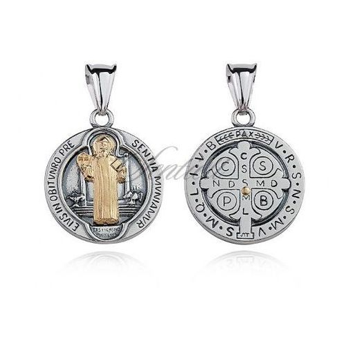 Silver (925) pendant Saint Benedict oxidized with gold-plated element - M0190OX_Z, M0190OX_Z