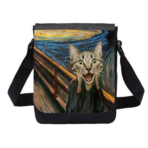 Torba na ramię mała Cat Scream Paint, kolor czarny