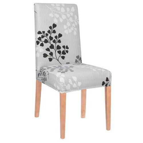 Pokrowiec na krzesło elastyczny szare listki (5907719404202)