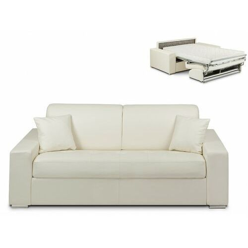 3-osobowa kanapa z ekspresowym mechanizmem rozkładania z materiału skóropodobnego EMIR - Kolor: biały - Miejsce do spania: 140 cm - Materac 14 cm