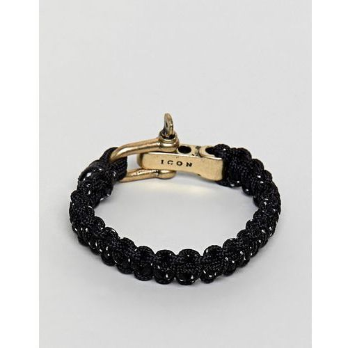 Icon Brand black woven bracelet with burnished gold closure - Black