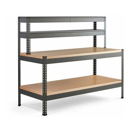 Stół warsztatowy COMBO, utwardzana płyta, półka dolna, nadstawka, 1840x775x1530 mm