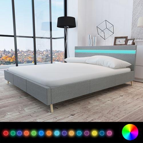 vidaXL Rama łóżka z materiałowym JASNO SZARYM obiciem + pas LED 200 x 160 cm