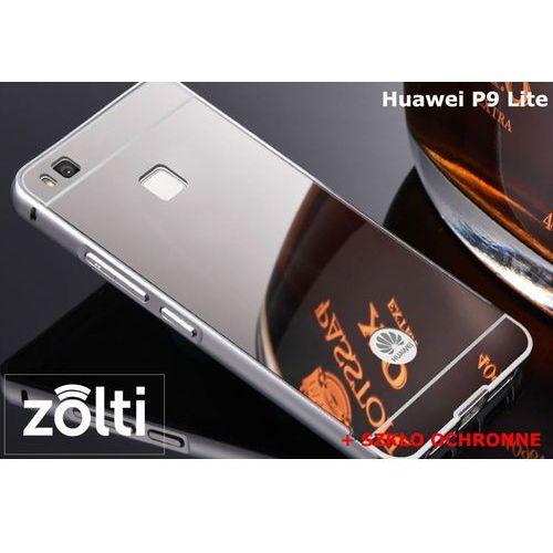 Zestaw   Mirror Bumper Metal Case Srebrny + Szkło ochronne Perfect Glass   Etui dla Huawei P9 Lite, kolor szary
