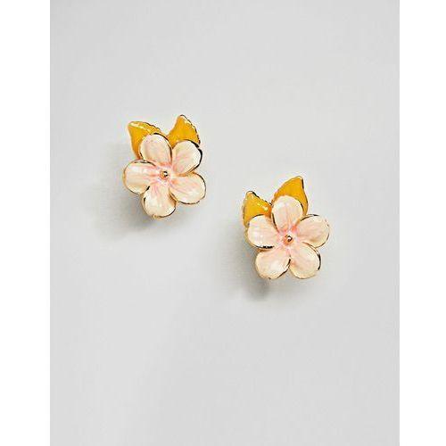 Bill skinner enamel cherry blossom stud earrings - gold