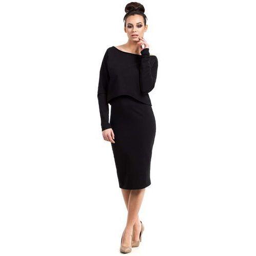 Czarna Sukienka Dopasowana Midi z Nakładką, EB001bl