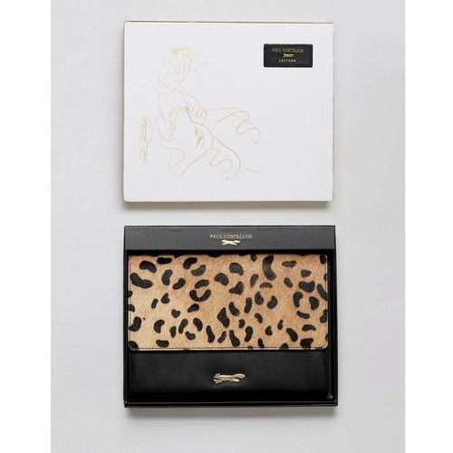 Paul Costelloe Real Leather Fold Over Purse with Faux Leopard Pony Hair - Black, kolor czarny
