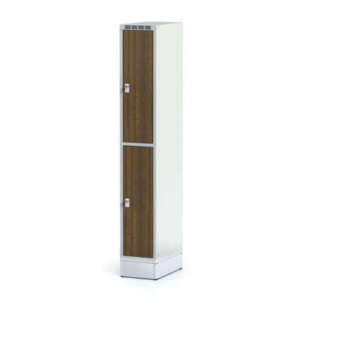 Szafka ubraniowa 2 drzwi 300x300 mm na cokole, drzwi lpw, orzech, zamek obrotowy marki Alfa 3