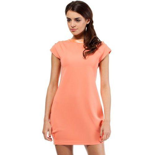 Mini sukienka - tunika ze złotymi ćwiekami MOE028 koralowa (5902041105841)