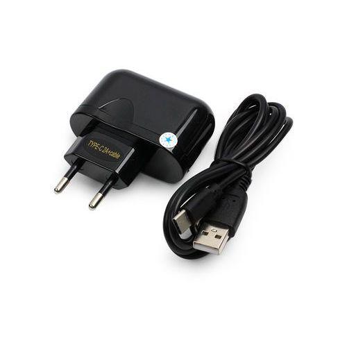 Ładowarka sieciowa Blue Star 2A z odpinanym kablem USB-C i Quick Charge - czarna