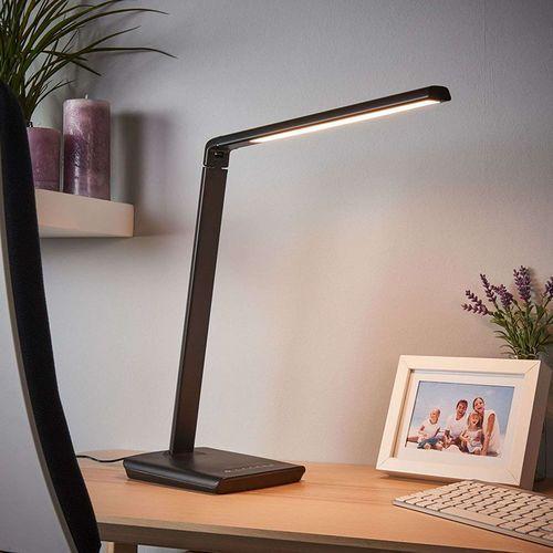 Czarna lampa biurkowa z portem usb, w tym led i ściemniacz - kuno marki Lindby