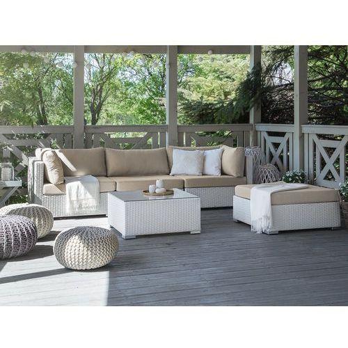 Meble ogrodowe białe - rattanowe - sofa rattanowa - SANO II
