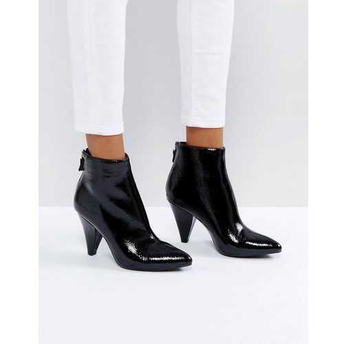 New Look Black Patent Cone Heel Pointed Ankle Boot - Black