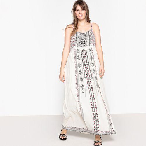 Długa sukienka z cienkimi ramiączkami, etniczny nadruk marki Castaluna