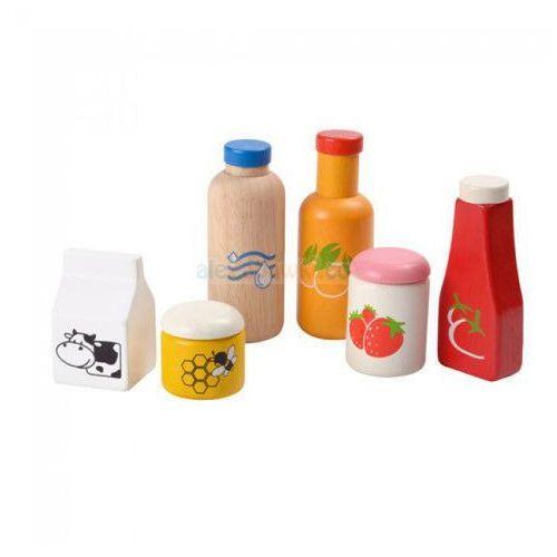 Drewniany zestaw jedzenia i napojów - zabawa w sklep i dom, , plto-3432 marki Plan toys