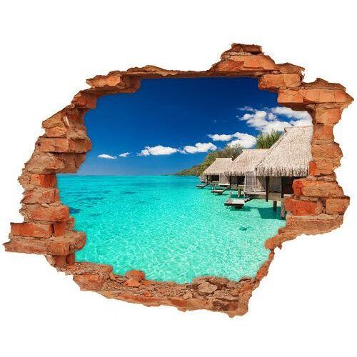 Dziura 3d w ścianie naklejka Bungalowy nad wodą