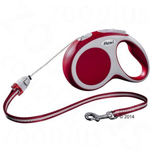 Smycz dla psa Flexi Vario S czerwona, 8 m - Lampka LED-Lighting-System - produkt z kategorii- Smycze i szelki dla psów