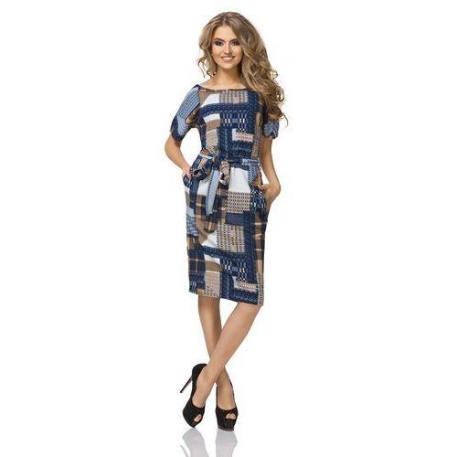 Sukienka prosta midi z geometrycznym wzorem - patchwork marki Tessita