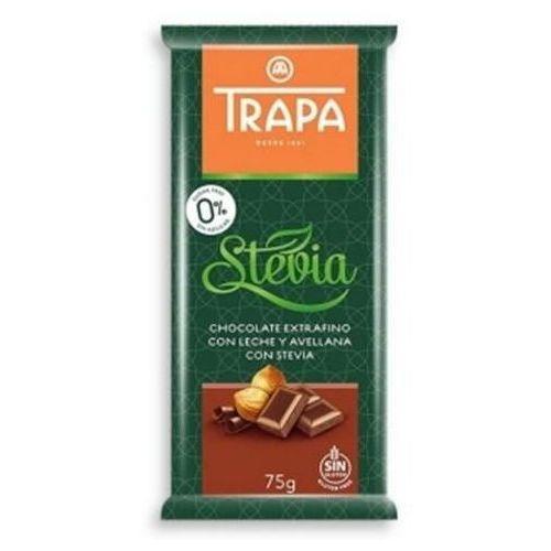 Czekolada mleczna z orzechami laskowymi ze stewia bez dodatku cukru bezglutenowa 75g TRAPA (8410679030079)