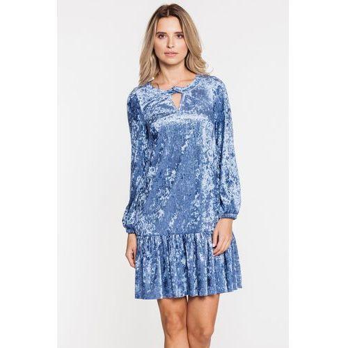 Szafirowa welurowa sukienka z falbanką - L'ame de Femme