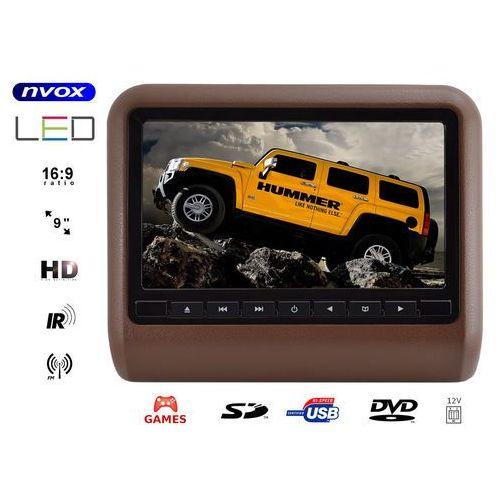"NVOX DV9917HD BR Monitor samochodowy zagłówkowy LCD 9"" cali LED HD DVD USB SD IR FM GRY 12V (5901867720498)"