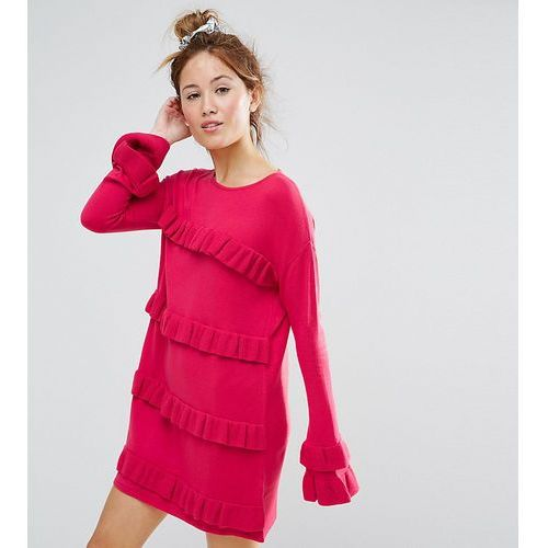 ASOS PETITE Dress With Ruffle And Fluted Sleeve - Pink, kolor różowy