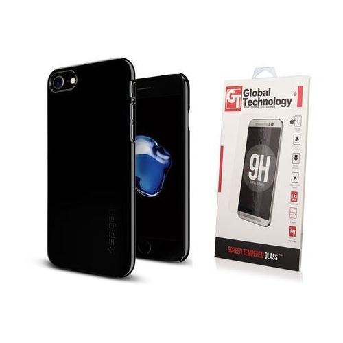 Sgp - spigen / perfect glass Zestaw | etui spigen thin fit jet black + szkło perfect glass - iphone 7 / 8