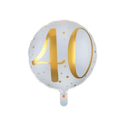 Balon foliowy biały ze złotym nadrukiem - 40tka - 35 cm - 1 szt. marki Santex