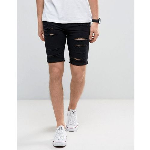 New Look Skinny Denim Shorts With Extreme Rips In Black Wash - Black