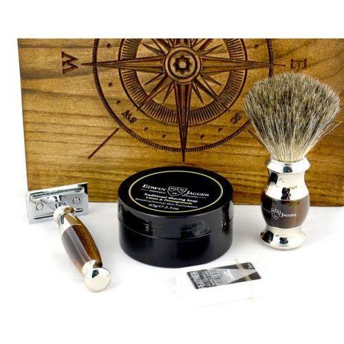 Edwin jagger Róża wiatrów, czarny, 4-el zestaw do golenia w drewnianym pudełku