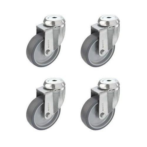 Zestaw termoplastycznego ogumienia z elastomeru, 4 rolki skrętne z otworem tylny marki Proroll