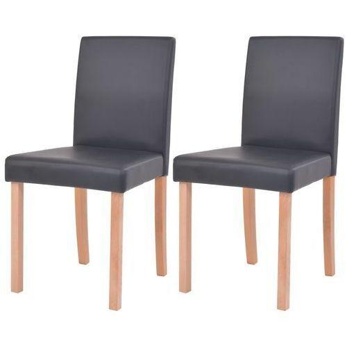 Krzesła, 2 szt., sztuczna skóra, drewno bukowe, czarne, kolor czarny
