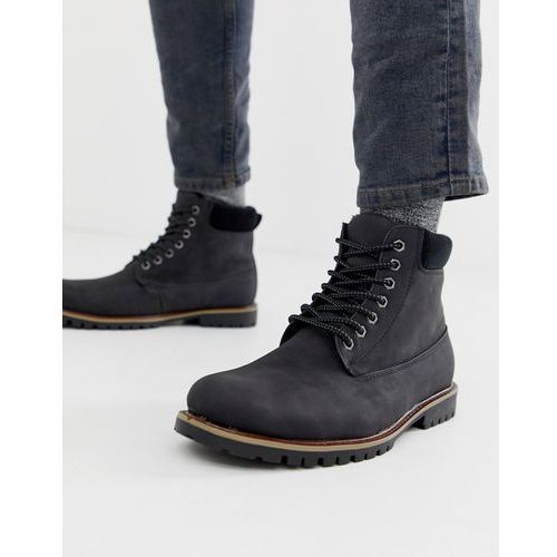 New look worker boots with borg lining in black - black
