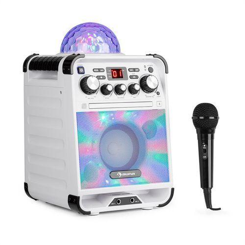 auna Rockstar LED zestaw do karaoke odtwarzacz CD Bluetooth USB biały