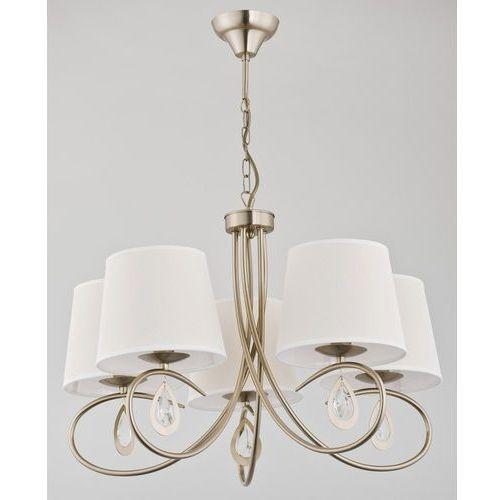 Lampa wisząca zwis izyda 5x40w e14 biała, złota patyna 22055 marki Alfa